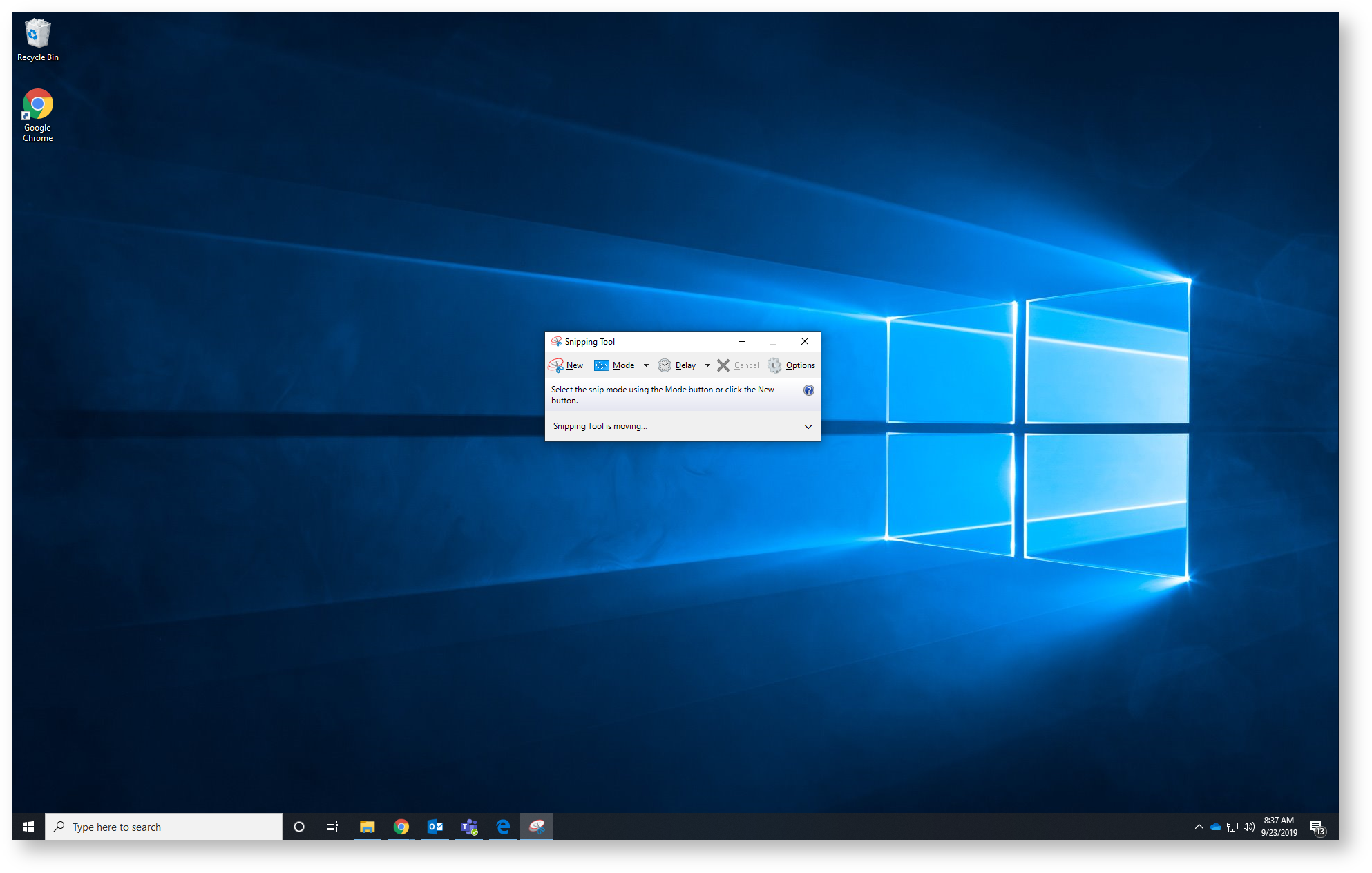 Screenshot of the Snipping tool on the Windows 10 Desktop