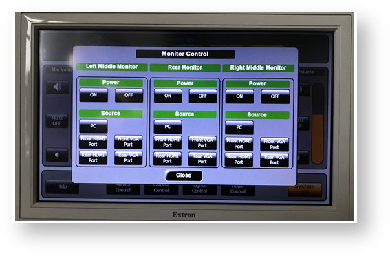 View of Monitor Control tab of Katzer Extron