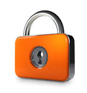 Orange and Silver key lock