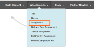 Create Assessment Menu - Assignment