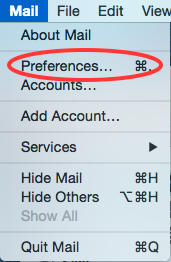 mail preferences menu