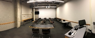 Panorama of Shaffer 203 from front of room to rear