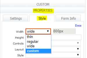 form properties and style section selected